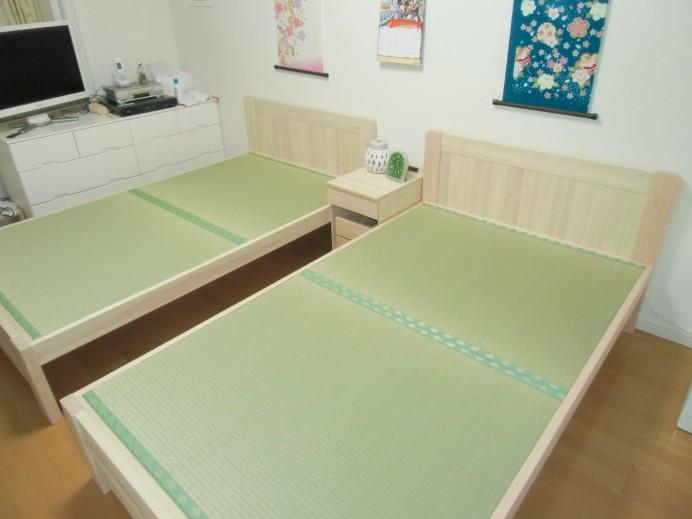 ひのきすのこ畳ベッド(板貼りヘッド)セミダブル